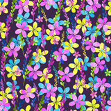Seamless floral pattern with watercolor blue pink yellow flowers and leaves in vintage style on violet background Royalty Free Stock Image