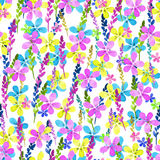 Seamless floral pattern with watercolor blue pink yellow flowers and leaves in vintage style on white background. . Hand Royalty Free Stock Images