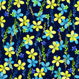 Seamless floral pattern with watercolor blue yellow flowers and leaves in vintage style on background. . Hand made Royalty Free Stock Photography