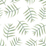 Seamless floral pattern with watercolor  branches with green leaves Stock Photo