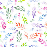 Seamless floral pattern with watercolor bright colorful leaves on the branches Stock Photo