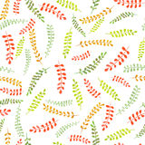Seamless floral pattern with watercolor bright colorful leaves on the branches Stock Photos
