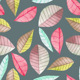 Seamless floral pattern with the watercolor bright colorful leaves, hand  painted on a dark background Royalty Free Stock Photography