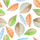 Seamless floral pattern with the watercolor bright colorful leaves, hand  painted on a white background Royalty Free Stock Photos