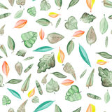 Seamless floral pattern with watercolor bright colorful leaves Royalty Free Stock Image