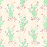 Seamless floral pattern Watercolor cacti in the background . Seamless floral pattern Watercolor cacti in the background paper Royalty Free Stock Photography