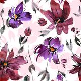 Seamless floral pattern with watercolor flower elements. Seamless watercolor floral background with hand painted flowers vector illustration