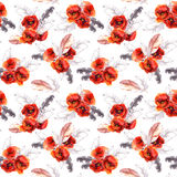 Seamless floral pattern with watercolor flowers and feathers. Aquarel Royalty Free Stock Image