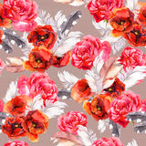 Seamless floral pattern with watercolor flowers and feathers. Watercolor Stock Image