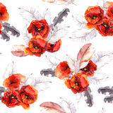 Seamless floral pattern with watercolor flowers and feathers. Watercolor Royalty Free Stock Photo