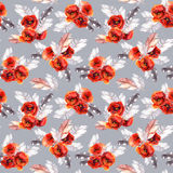 Seamless floral pattern with watercolor flowers and feathers. Watercolor Stock Photo