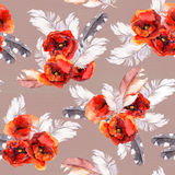 Seamless floral pattern with watercolor flowers and feathers. Watercolor Stock Images