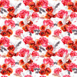 Seamless floral pattern with watercolor flowers and feathers. Watercolor Royalty Free Stock Photos