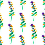Seamless floral pattern with watercolor flowers in vintage style. Nature vector background. Surface design with elements of wildflowers Royalty Free Stock Photography