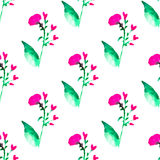 Seamless floral pattern with watercolor flowers in vintage style. Nature vector background. Surface design with elements of wildflowers Stock Photo