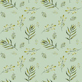 Seamless floral pattern with watercolor green fern branches Royalty Free Stock Photos