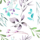 Seamless floral pattern with the watercolor green leaves on the branches and purple berries (Mistletoe) Royalty Free Stock Photos