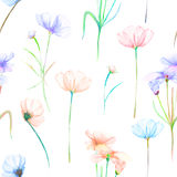 A seamless floral pattern with watercolor hand-drawn tender pink and purple cosmos flowers Stock Image