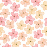 A seamless floral pattern with watercolor hand-drawn tender pink spring flowers Royalty Free Stock Photos