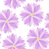 A seamless floral pattern with watercolor hand-drawn violet and purple spring flowers Stock Photo