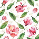Seamless floral pattern with watercolor magnolia Stock Photo