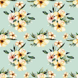 Seamless floral pattern with watercolor pink flowers bouquets. Hand drawn on a blue background Royalty Free Stock Photos