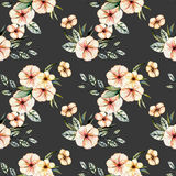 Seamless floral pattern with watercolor pink flowers bouquets. Hand drawn on a dark background Stock Photos