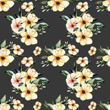 Seamless floral pattern with watercolor pink flowers bouquets. Hand drawn on a dark background Royalty Free Stock Images