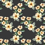 Seamless floral pattern with watercolor pink flowers bouquets. Hand drawn on a dark background Royalty Free Stock Photography