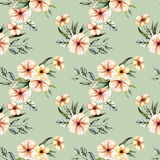 Seamless floral pattern with watercolor pink flowers bouquets. Hand drawn on a green background Stock Photos