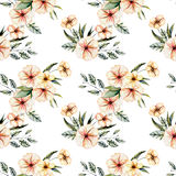 Seamless floral pattern with watercolor pink flowers bouquets. Hand drawn on a white background Royalty Free Stock Photo
