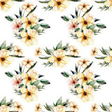 Seamless floral pattern with watercolor pink flowers bouquets. Hand drawn on a white background Stock Photo