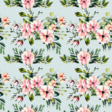Seamless floral pattern with watercolor pink flowers and eucalyptus branches bouquets. Hand drawn on a blue background Stock Photography