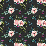 Seamless floral pattern with watercolor pink flowers and eucalyptus branches bouquets. Hand drawn on a dark background Stock Image