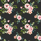 Seamless floral pattern with watercolor pink flowers and eucalyptus branches bouquets. Hand drawn on a dark background Stock Photos