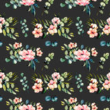 Seamless floral pattern with watercolor pink flowers and eucalyptus branches bouquets. Hand drawn on a dark background Royalty Free Stock Photo