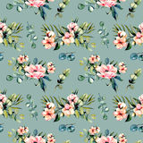 Seamless floral pattern with watercolor pink flowers and eucalyptus branches bouquets. Hand drawn on a dark blue background Stock Photos