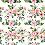 Seamless floral pattern with watercolor pink flowers and eucalyptus branches bouquets. Hand drawn on a white background Royalty Free Stock Photo