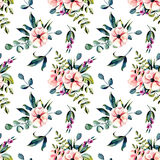 Seamless floral pattern with watercolor pink flowers and eucalyptus branches bouquets. Hand drawn on a white background Royalty Free Stock Image
