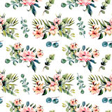 Seamless floral pattern with watercolor pink flowers and eucalyptus branches bouquets. Hand drawn on a white background Stock Photos