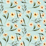 Seamless floral pattern with watercolor pink flowers, green leaves and branches. Hand drawn isolated on a blue background Stock Photos