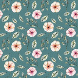 Seamless floral pattern with watercolor pink flowers, green leaves and branches. Hand drawn isolated on a dark green background Stock Photos