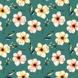 Seamless floral pattern with watercolor pink flowers, green leaves and branches. Hand drawn isolated on a dark green background Royalty Free Stock Images