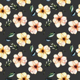 Seamless floral pattern with watercolor pink flowers, green leaves and branches. Hand drawn isolated on a dark background Stock Photography