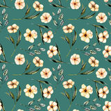Seamless floral pattern with watercolor pink flowers, green leaves and branches. Hand drawn isolated on a dark green background Royalty Free Stock Photo