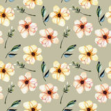 Seamless floral pattern with watercolor pink flowers, green leaves and branches. Hand drawn isolated on a grey background Royalty Free Stock Photos