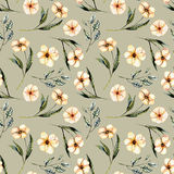 Seamless floral pattern with watercolor pink flowers, green leaves and branches. Hand drawn isolated on a grey background Royalty Free Stock Photography
