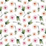 Seamless floral pattern with watercolor pink flowers, green leaves and branches. Hand drawn isolated on a white background Stock Photos