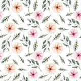 Seamless floral pattern with watercolor pink flowers, green leaves and branches. Hand drawn isolated on a white background Stock Images