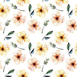 Seamless floral pattern with watercolor pink flowers, green leaves and branches. Hand drawn isolated on a white background Royalty Free Stock Photography